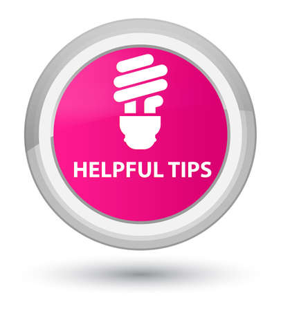Helpful tips (bulb icon) isolated on prime pink round button abstract illustration Stock Photo