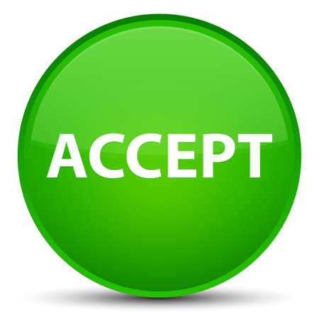 Accept isolated on special green round button abstract illustration