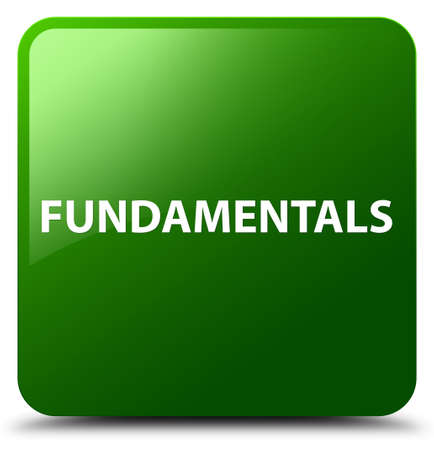 Fundamentals isolated on green square button abstract illustration