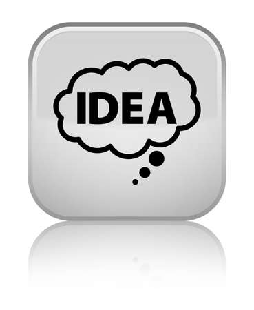 hint: Idea bubble icon isolated on special white square button reflected abstract illustration