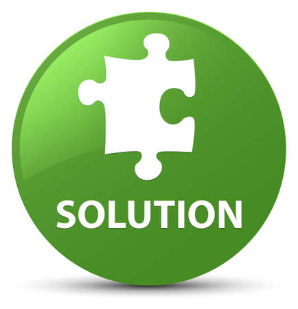 Solution (puzzle icon) isolated on soft green round button abstract illustration