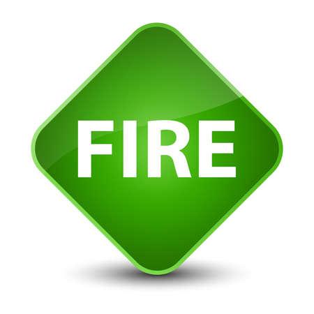 エレガントなグリーン ダイヤモンド ボタン抽象的なイラストに分離された火