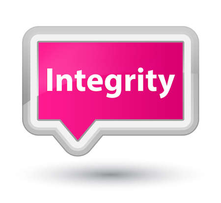 Integrity isolated on prime pink banner button abstract illustration