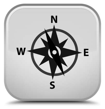Compass icon isolated on special white square button abstract illustration