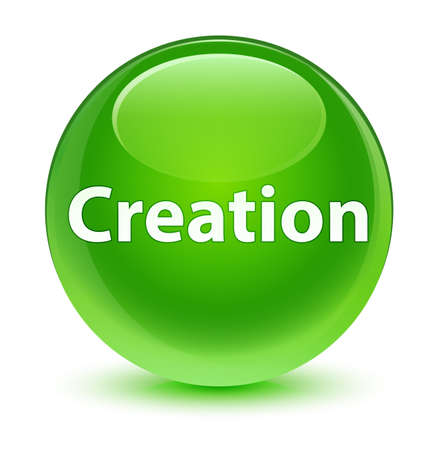 Creation isolated on glassy green round button abstract illustration Stock Photo