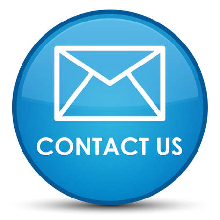 Contact us (email icon) isolated on special cyan blue round button abstract illustration Stock Photo