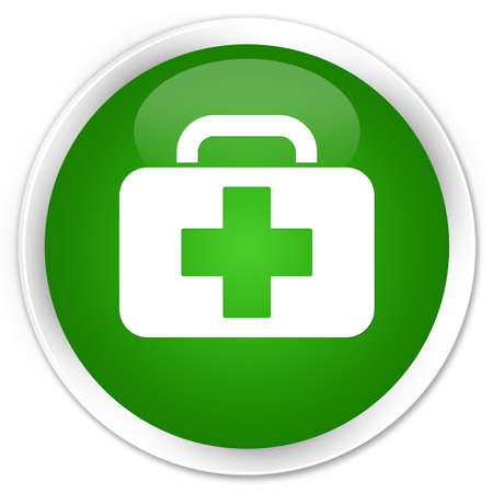 Medical bag icon isolated on premium green round button abstract illustration