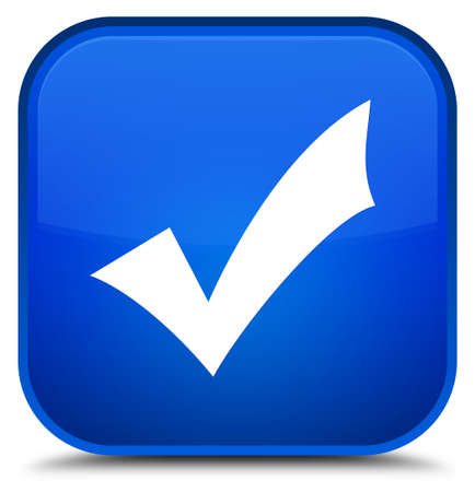 Validation icon isolated on special blue square button abstract illustration