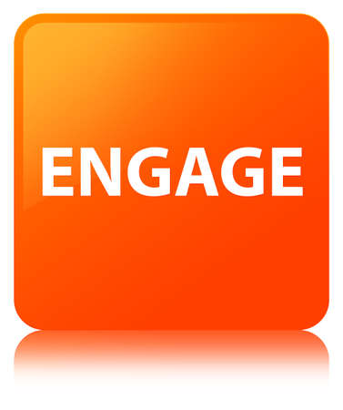 Engage isolated on orange square button reflected abstract illustration Banco de Imagens