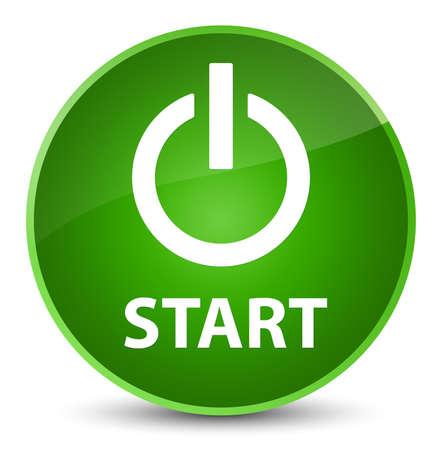 start button: Start (power icon) isolated on elegant green round button abstract illustration
