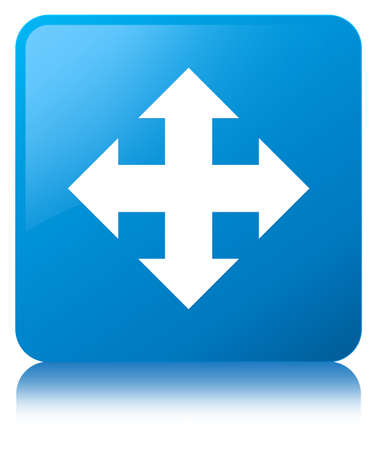 moving down: Move icon isolated on cyan blue square button reflected abstract illustration