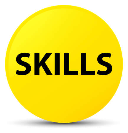 Skills isolated on yellow round button abstract illustration Stock Photo