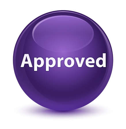 Approved isolated on glassy purple round button abstract illustration Stock Photo