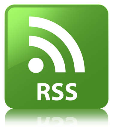 RSS isolated on soft green square button reflected abstract illustration Stock Photo