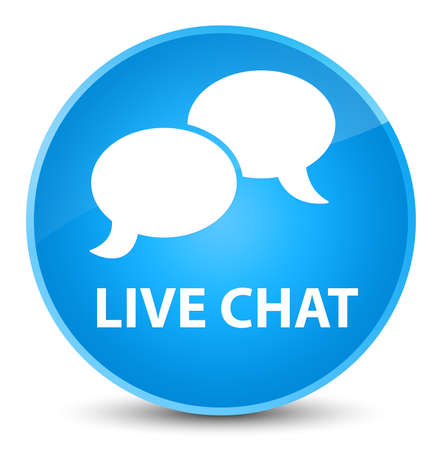 Live chat isolated on elegant cyan blue round button abstract illustration Stock Photo