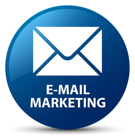 E-mail marketing isolated on blue round button abstract illustration