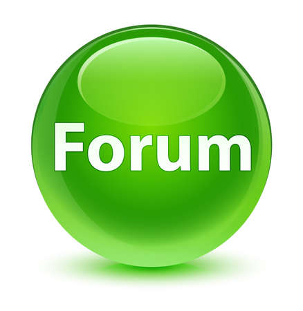 Forum isolated on glassy green round button abstract illustration Stock Photo
