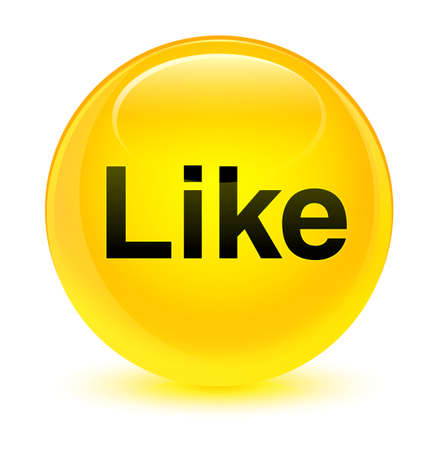 Like isolated on glassy yellow round button abstract illustration Stock Photo