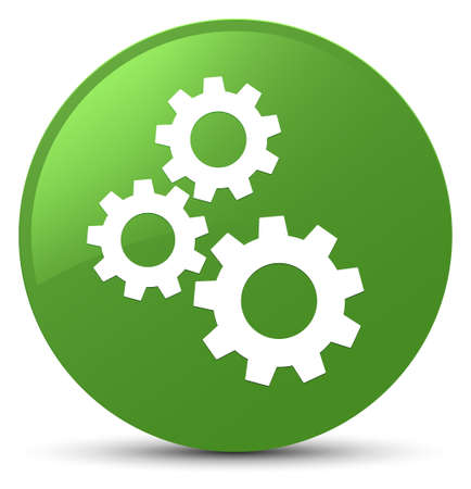 Gears icon isolated on soft green round button abstract illustration