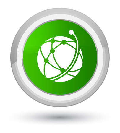 Global network icon isolated on prime green round button abstract illustration
