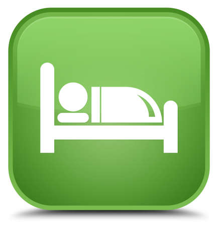 nap: Hotel bed icon isolated on special soft green square button abstract illustration