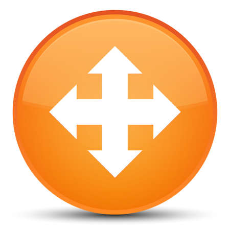 Move icon isolated on special orange round button abstract illustration