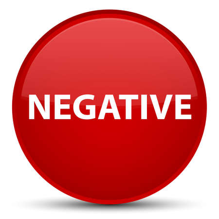 Negative isolated on special red round button abstract illustration Stock Photo