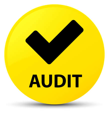 Audit (validate icon) isolated on yellow round button abstract illustration