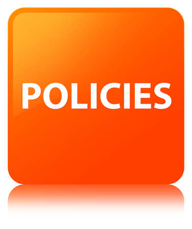 Policies isolated on orange square button reflected abstract illustration