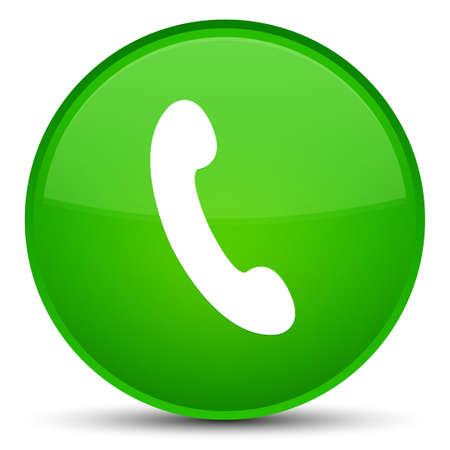 Phone icon isolated on special green round button abstract illustration Stock Photo