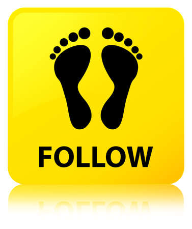 Follow (footprint icon) isolated on yellow square button reflected abstract illustration
