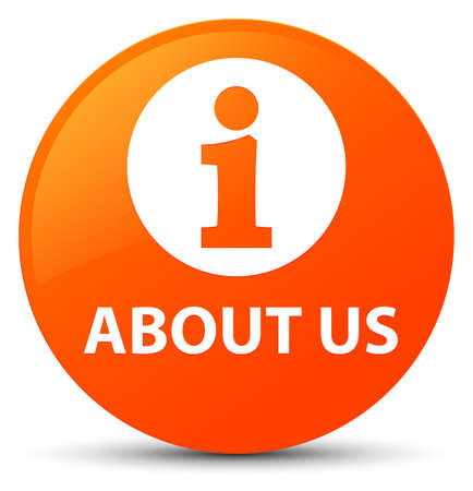 About us isolated on orange round button abstract illustration Stock Photo