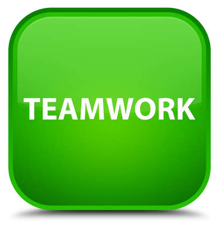 Teamwork isolated on special green square button abstract illustration Stock Photo