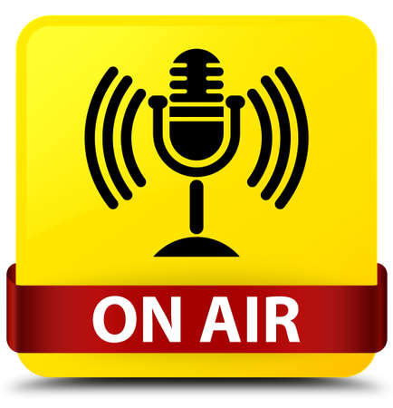 On air (mic icon) isolated on yellow square button with red ribbon in middle abstract illustration