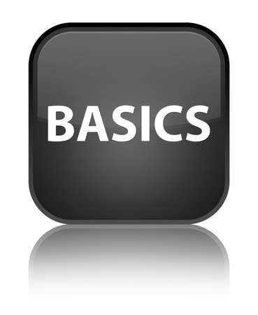 Basics isolated on special black square button reflected abstract illustration