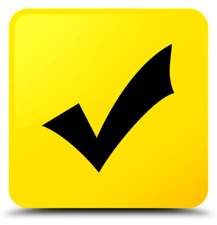 Validation icon isolated on yellow square button abstract illustration Stock Photo