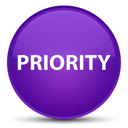Priority isolated on special purple round button abstract illustration
