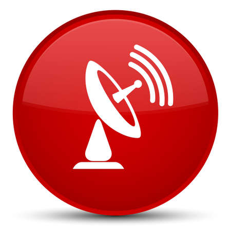 Satellite dish icon isolated on special red round button abstract illustration Stock Photo