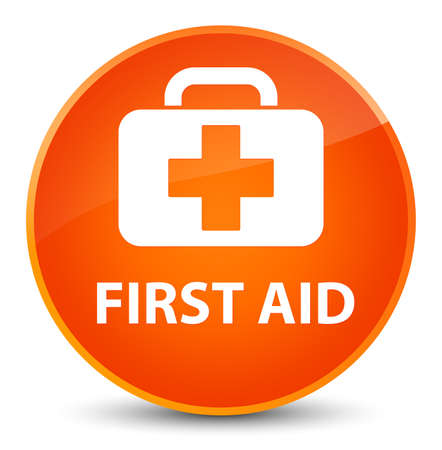 First aid isolated on elegant orange round button abstract illustration