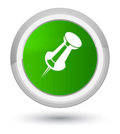 Push pin icon isolated on prime green round button abstract illustration Stock Photo