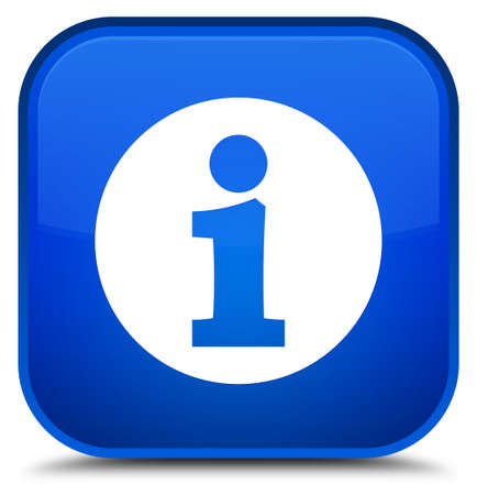 Info icon isolated on special blue square button abstract illustration