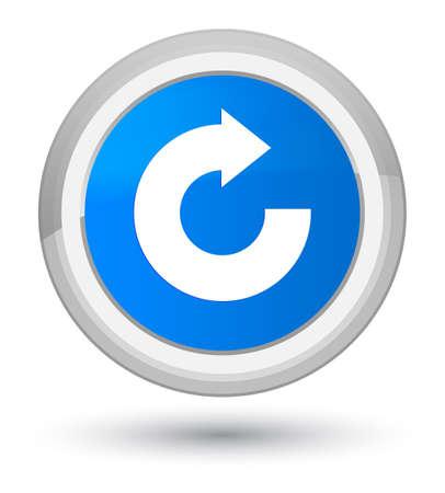 Icono de flecha de respuesta aislado en la ilustración abstracta de botón redondo azul cian primordial