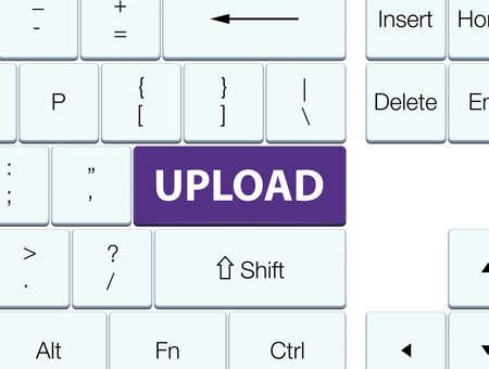 Upload isolated on purple keyboard button abstract illustration Stock Photo