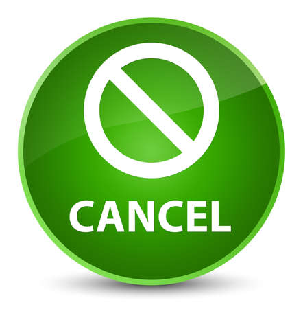 Cancel (prohibition sign icon) isolated on elegant green round button abstract illustration