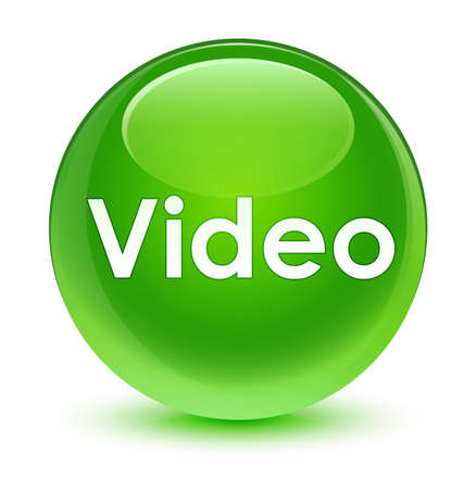 Video isolated on glassy green round button abstract illustration