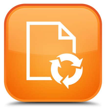 Dokumentieren Sie die Prozessikone, die auf spezieller orange quadratischer Knopfzusammenfassungsillustration lokalisiert wird Standard-Bild
