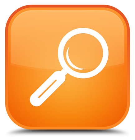 Magnifying glass icon isolated on special orange square button abstract illustration