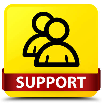 Support (group icon) isolated on yellow square button with red ribbon in middle abstract illustration