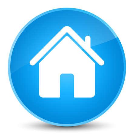 エレガントな青緑色の丸いボタンの抽象的なイラスト青に分離されたホームのアイコン