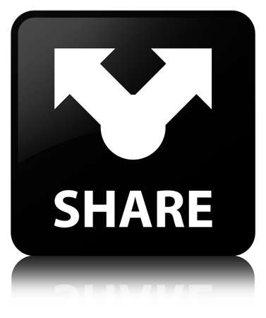 Share isolated on black square button reflected abstract illustration Stock Photo